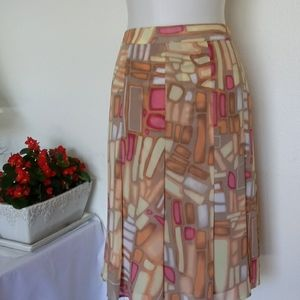 NWOT Pleated Multicolored Skirt